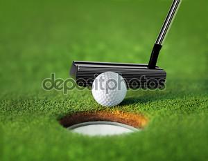 Крупным планом мяч для гольфа и теэ