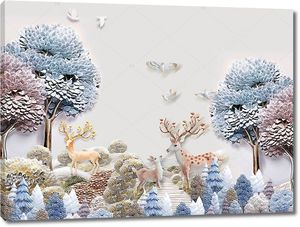Два оленя в керамическом лесу