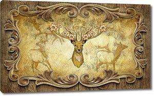 Голова оленя в резной раме