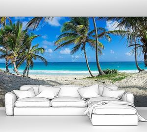 Карибский пляж и пальмовое дерево
