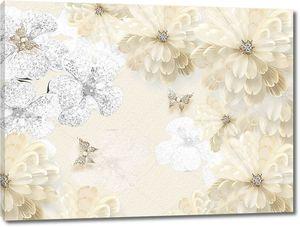 Бежевый фон с бежевыми  цветами и золотыми бабочками