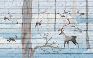 Лес с оленями на кирпиче