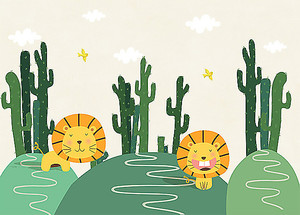 Львята среди кактусов