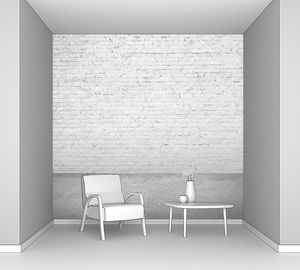Интерьер комнаты с белым кирпичом и полом