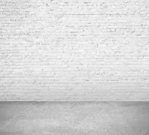 Интерьер комнаты с белым кирпичную стену и пол