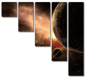 Планета с кольцами на фоне космоса
