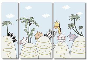 Смешные зверята среди пальм
