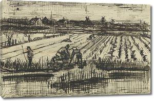 Ван Гог. Пейзаж с людьми, копающими картошку