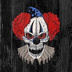Illustartion мультфильм злой клоун.
