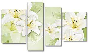 Лилии на нежно-зеленом фоне