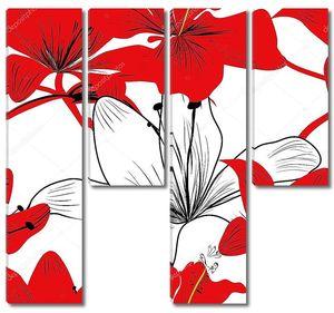 Красные и белые лилии