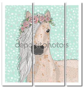 Милые лошади с цветами. Фон сказка для детей