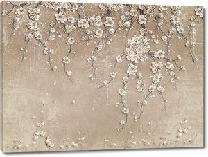 Цветущие ветки сакуры свисающие по стене