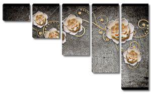 Позолоченные цветы на темной штукатурке