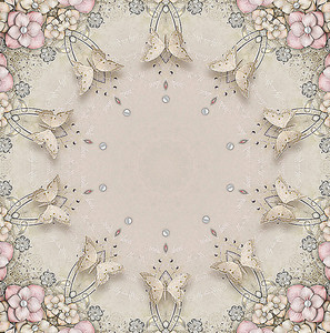 Орнамент из цветов, бабочек и страз