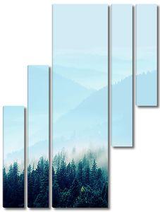 Лес и сопки в тумане