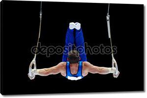 гимнастка выполняет на кольца