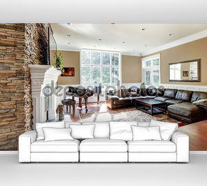 Светлый люкс гостиная с каменным камином и Черри лиственных пород.