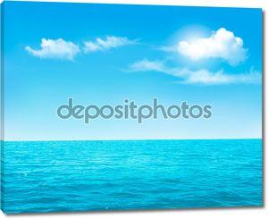 Природа фон - синий океан и синий облачное небо. Вектор.