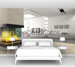 Интерьер комнаты без мебели с камином