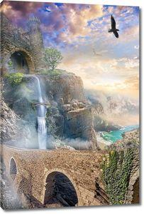 Дорога вдоль прекрасного водопада