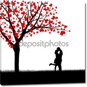 Сердце листья и целовать пара
