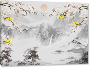 Серые горы , желтые птицы