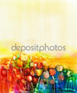 Абстрактные Тюльпан Цветок поле акварельная живопись
