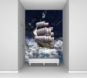 Парусное судно в облаках