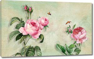 Розы с маленькими птичками