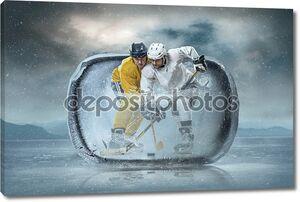 Хоккеисты в кубе льда