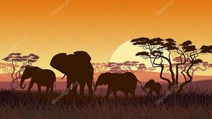 горизонтальной иллюстрации диких животных в Африканский закат savann