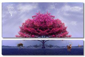 Олени под розовым деревом