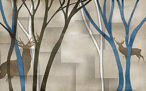 Олени и деревья на кубическом фоне
