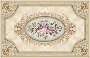 Изразцовый орнамент с розами в центре