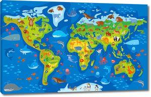 Мир животных. Забавный мультфильм характер