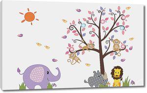 Слоник, львенок и носорожек под деревом