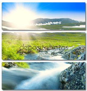 Горная река в утреннем солнце