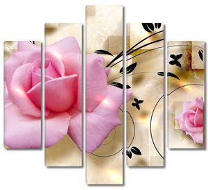 Бежевый фон с двумя розовыми розами