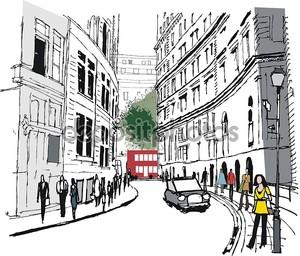 Иллюстрация пешеходов в Лондоне