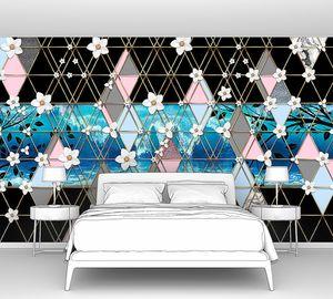 Triangle eden-Цветущие ветки на черно-голубых ромбах