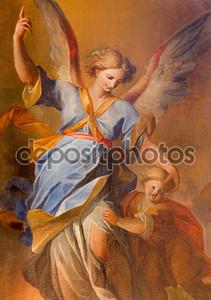 Вена - 3 июля: Ангел-хранитель ребенка краской от боковой алтарь в стиле барокко иезуитами церкви от 18. процентов. 3 июля 2013 г. Вена.