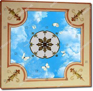 Бабочки летают вокруг круглого плафона в центре
