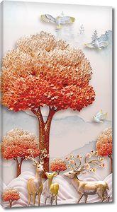 Олени под красным деревом