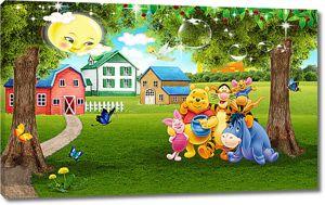 Друзья Винни на лужайке