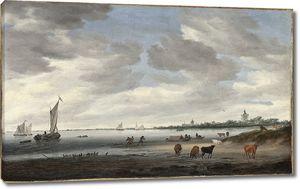 Рейсдаль Саломон. Пейзаж с паромом на реке