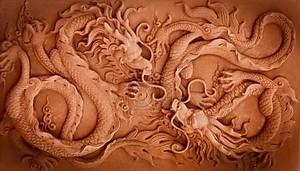 Китайские драконы, каменный барельеф