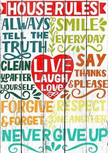 Рука буквы цитата Дом Правила со словами Live, смех, любовь.