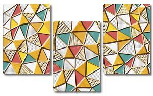 Мозаика из треугольников разных цветов и текстур