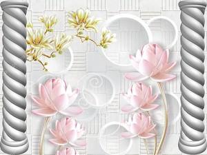 Две серые витые колонны, цветы на ветке